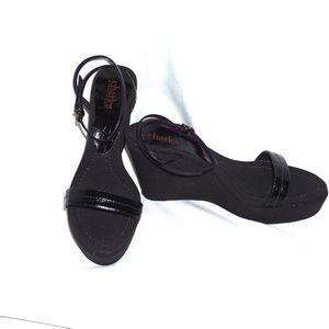 Charles David wedge shoes black canvas 8 NEW